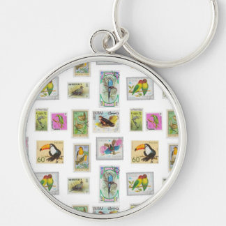 Bird Stamps on White Collections Silver-Colored Round Key Ring