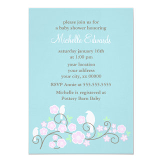 Birds and Flowers Shower Invitations