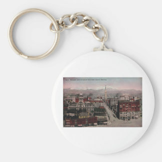 Bird's Eye View of Denver, CO in Early 1900's Basic Round Button Key Ring