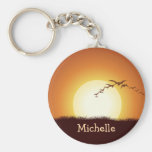 Birds Flying at Sunset Personalised Keychain