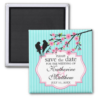 Birds on a Cherry Blossom Branch Save The Date Square Magnet