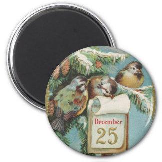 Birds on Decemeber 25th 6 Cm Round Magnet