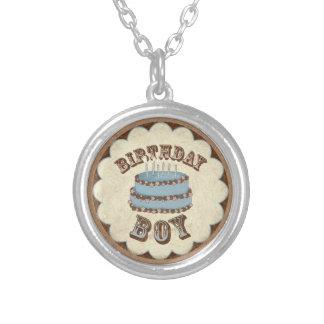 Birthday boy round pendant necklace