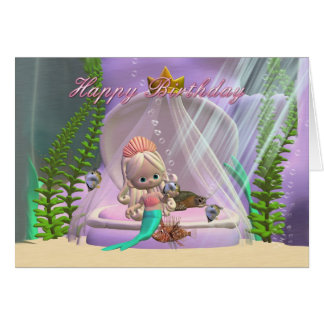 Birthday card with little mermaid and fish friends
