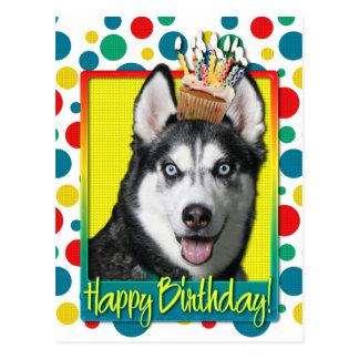 Birthday Cupcake - Siberian Husky Postcard