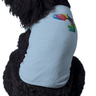 Birthday Dog With Balloons Tie and Glasses Sleeveless Dog Shirt