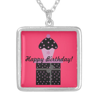 """""""Birthday Gift and Cupcake"""" Necklace"""