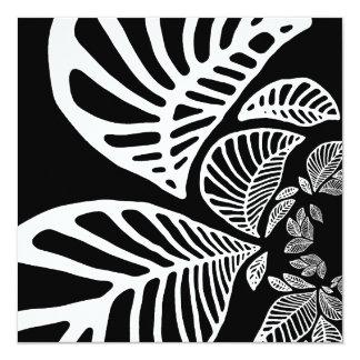 Birthday Invitation Black & White Leaf