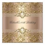 Birthday Party Pearl Coffee Cream Gold chain 13 Cm X 13 Cm Square Invitation Card