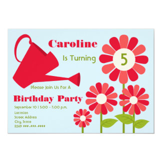 Birthday Party - Red Flower Garden & Watering Can 13 Cm X 18 Cm Invitation Card