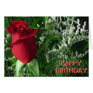 Birthday Red Rose Bud Greeting Card