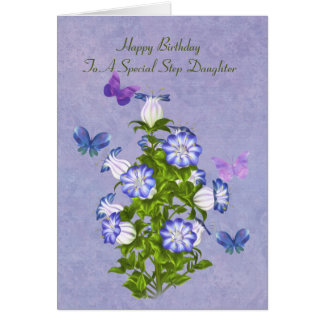 Birthday, Step Daughter, Butterflies and Flowers Greeting Card