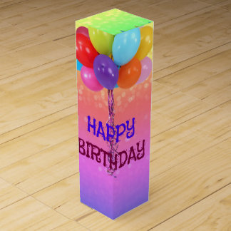 Birthday Wishes, Rainbow Colors Wine Gift Boxes
