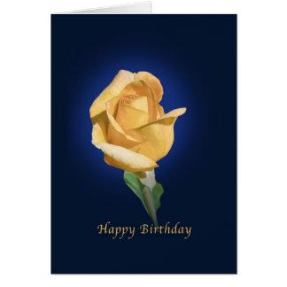 Birthday,  Yellow Rose Bud Greeting Card