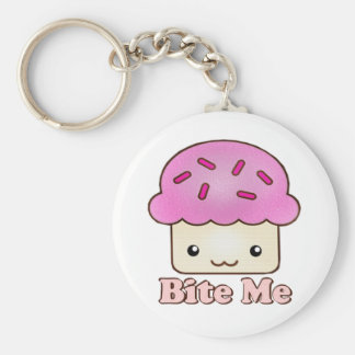Bite Me Cupcake Basic Round Button Key Ring