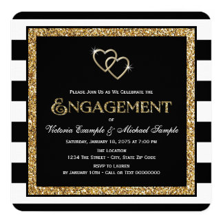 Black and Gold Engagement Party 13 Cm X 13 Cm Square Invitation Card