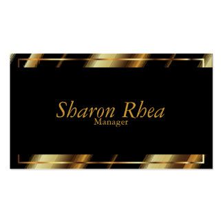 Black and Gold Metallic Diagonal Stripes Pack Of Standard Business Cards