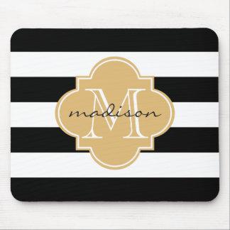 Black and Gold Nautical Stripes Custom Monogram Mouse Pad