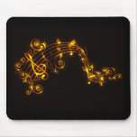 Black and Gold Swirling Musical Notes Mouse Pad