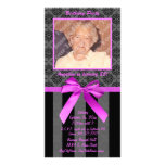 Black And Grey Damask With Hot Pink Ribbon Photo Cards