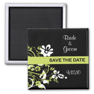 Black and Lime Green Save the Date Magnets