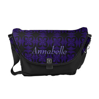 Black and Purple Geometric Floral Pattern Commuter Bags