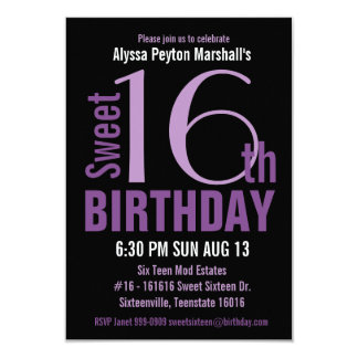 Black and Purple Modern Text Sweet 16th Party 9 Cm X 13 Cm Invitation Card