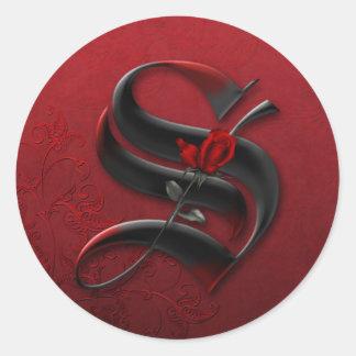 Black and Red Rose Monogram S Sticker