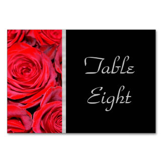 Black and Red Roses Table Card