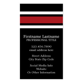 Black and Red Sports Jersey Custom Name Number Pack Of Standard Business Cards