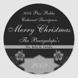 Black and Silver Christmas Wine LARGE Labels Round Sticker