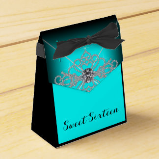 Black and Teal Blue Sweet 16 Birthday Party Party Favour Boxes