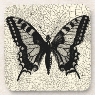 Black and White Butterfly on Cracked Background Drink Coasters