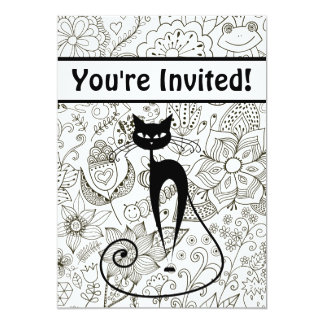 Black and White Cat and Cute Garden Birthday Party 13 Cm X 18 Cm Invitation Card
