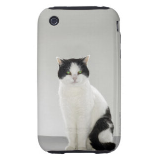 Black and white cat with glowing green eyes iPhone 3 tough cases