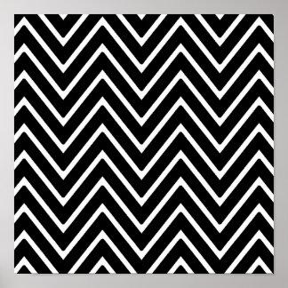 Black and White Chevron Pattern 2 Poster