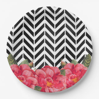 Black and White Chevron with Bright Pink Flowers 9 Inch Paper Plate