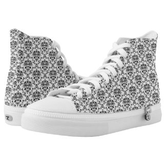 Black and White Damask High Tops Printed Shoes