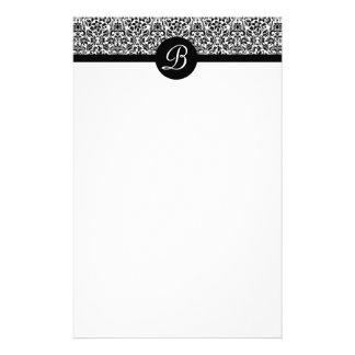 Black and White Damask Monogrammed Stationary Personalised Stationery