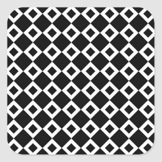 Black and White Diamond Pattern Square Sticker