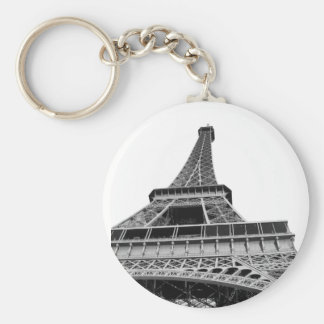 Black and White Eiffel Tower Basic Round Button Key Ring