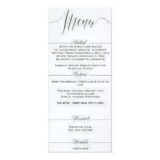 Black and White Elegant Wedding Menu 10 Cm X 24 Cm Invitation Card