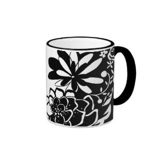 Black and White Floral Garden Graphic Pattern Ringer Mug