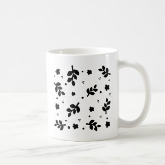 Black and White Floral pattern Basic White Mug