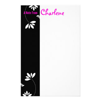 Black and White Flower Notepad Personalized Stationery