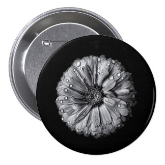 Black And White Flowers 10 7.5 Cm Round Badge
