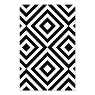 Black and White Geometric Line Pattern Personalised Stationery