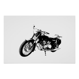 Black and White Graphic Motorcycle Poster