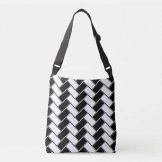 Black and white herringbone tote bag
