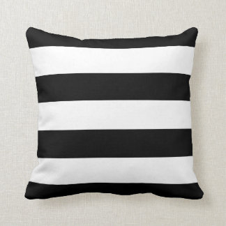 Black and White Horizontal Stripes Throw Cushion